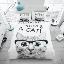 Dieren dekbedovertrek - All you need is love & a cat - 2 persoons met 2 kussenslopen