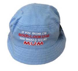 Baby zonnehoedje tekst goodlooking DAD of MUM - maat 44,46