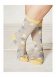 Bamboe dames sokken - Happy Heart sunshine -  maat 37-40