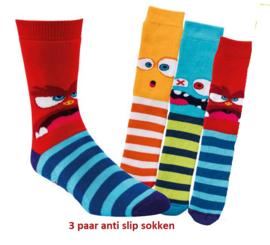 Anti slip sokken monster - set van 3 paar - maat 19-22