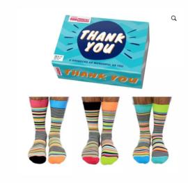 Oddsocks - Cadeaudoos met 6 verschillende sokken Thank You - Blauw doosje- maat 39-46