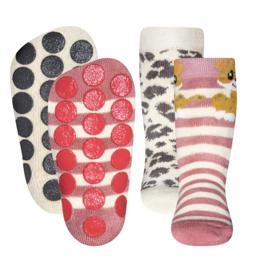Anti slip sokken set van 2 paar dierenprint maat 18-19