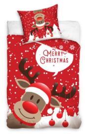Kerst dekbedovertrek Rendier - eenpersoons met 1 kussensloop - 100% katoen