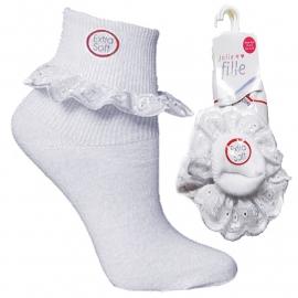 Witte baby sokjes met katoenen kanten ruche schoenmaat 13-15