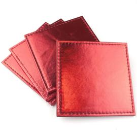 Metallic onderzetter rood -set van 4 stuks