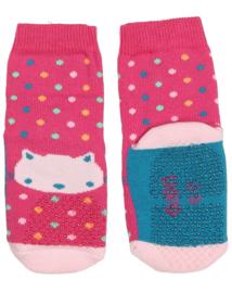 Ewers anti slip sokken Krabbelfix roze kat maat 17-18