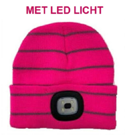 Kinder beanie muts met LED lamp in 3 sterktes - Fuchsia gestreept - voor 5 tot 12 jaar - vervangbare batterij