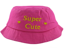 Zonnehoedje Super Cute donker roze  - maat 50,52