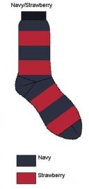 Bonnie Doon Sailor heren sokken navy / rood gestreept mt 40 - 46