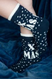 Kerst sok Bonnie Doon XMAS donkerblauw / wit maat 31 - 34