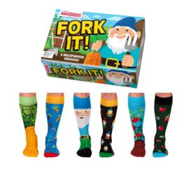 Oddsocks - Fork It - Cadeaudoos met 6 verschillende mismatched sokken  - maat 39-46
