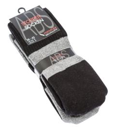 Anti slip huissokken - set van 2 paar - grijs met zwart - maat 39/42