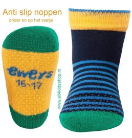 Ewers anti slip sokken Krabbelfix blauw / groen / geel maat 16-17