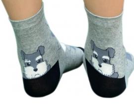 Hondje boven de hiel sokken grijs, ivoor, zwart, maat 35 - 38