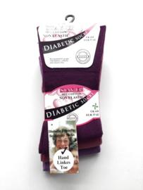 Diabetes sokken 3 paar (MARINE-GRIJSBLAUW-DONKERBLAUW) non elastic boorden en handgenaaide teennaad , mt 37 - 42