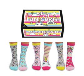 Oddsocks - Be A Unicorn - Cadeaudoos met 6 verschillende mismatched sokken - maat  37 tot 42