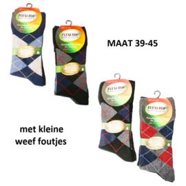 B keus sokken met ruiten, set van 3 paar mt 39-45