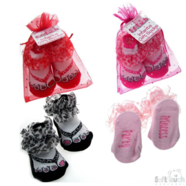 4 paar baby sokjes in teenslipper model met ruches