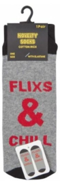 Fun tekst sokken Flixs & Chill - maat 37/43