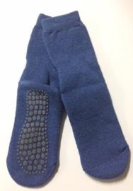 Anti slip huissokken Basset- jeansblauw maat 35/38
