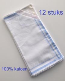 Dames zakdoeken - set van 12 stuks - 100% katoen - 3 kleuren