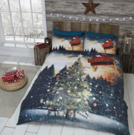 Kerst dekbedovertrek Kerstboom en Noorderlicht - 2 persoons met 2 kussenslopen