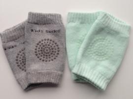 Anti slip kniebeschermers / Kniepads set van 2 paar: mintgroen en grijs