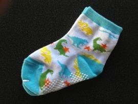 5301 antislip sokken wit turqois met gekleurde dino`s