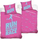 Run your own race dekbedovertrek roze