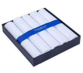 Cadeau doosje heren zakdoeken - 5 x katoenen zakdoek - Wit