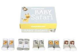 Cadeaudoosje met 5 paar babysokjes - Baby Safari