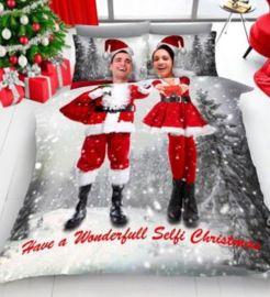 Kerst dekbedovertrek Selfie Lits Jumeaux met 2 kussenslopen