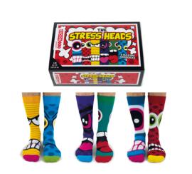 Oddsocks - Stress Heads - Cadeaudoos met 6 verschillende mismatched sokken - maat  39 -46