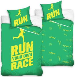 Run your own race dekbedovertrek groen