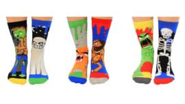 Oddsocks - Mismatched sokken - Cadeaudoos met 6 verschillende sokken - Zombie - maat 31 tot 39