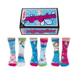 Oddsocks - Mismatched sokken - Cadeaudoos met 6 Zeemeermin sokken - maat  37 tot 42
