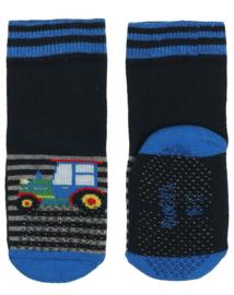 Ewers anti slip sokken Krabbelfix tractor blauw maat 17-18