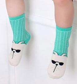 4831 antislip sokken groen met offwhite en dierengezicht