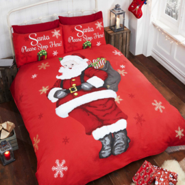 Kerst dekbedovertrek Santa  1 persoons met 1 kussensloop
