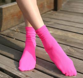 Felgekleurde rose neon Rock'n Roll sokken maat 35 - 41