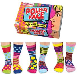 Oddsocks - Mismatched sokken - Cadeaudoos met 6 vrolijke sokken Polka Face  - maat  37 tot 42