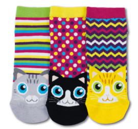 Oddsocks - Mismatched Gekke Sokken - Kattekop - 3 sneaker sokken - maat 37 tot 42