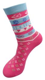 Holland souvenir sokken roze groen met tulpen en de tekst Holland  - maat 36 tot 42