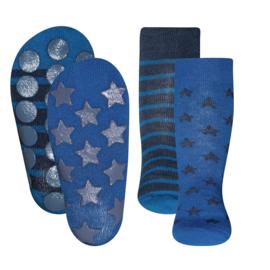 Anti slip sokken set van 2 paar blauw maat 18-19