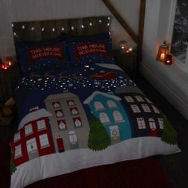 Kerst Dekbedovertrek - Glow in the dark - Midnight  - tweepersoons met 2 kussenslopen