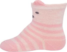 Ewers rose gestreepte sokken met dierengezicht maat 23-26