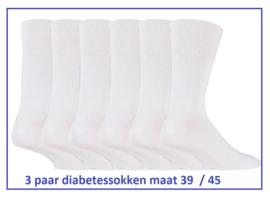 Diabetes heren sokken 100% katoen, 3 paar effen witte sokken met zachte boorden, mt 39-45