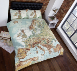 Wereldkaart Europa dekbedovertrek - Lits jumeaux met 2 kussenslopen