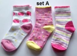 babysokjes set van 3 paar, 2 verschillende motieven