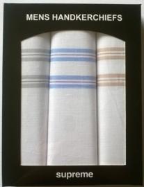 Doosje met 3 katoenen heren zakdoeken met gekleurde strepen